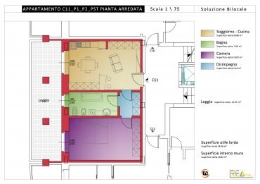 In vendita alloggio c11 bilocale p1 residenza belvedere for Calcolo superficie
